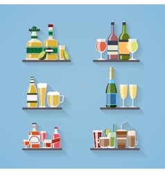 Booze or drinks flat icons on tray at bar vector