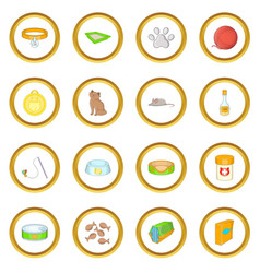 Cats accessories icons circle vector