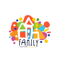 Colorful family logo design with city houses vector