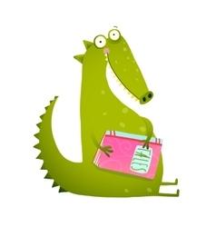 Dragon or dinosaur cartoon reading book vector