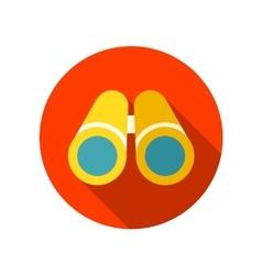 Flat icon of binoculars with long shadow vector image