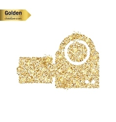 Gold glitter icon of video camera isolated vector