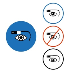 Google glass icon set blue red circle vector