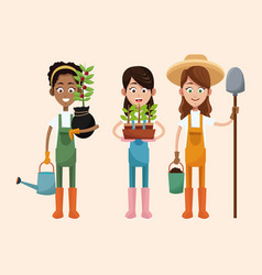 group women farmer equipment work vector image