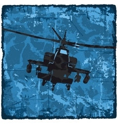 Grunge texture vintage background with helicopter vector image vector image