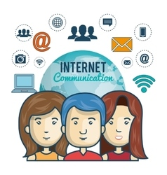 Internet connection globe persons web graphic vector