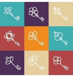 key icons in line style vector image vector image
