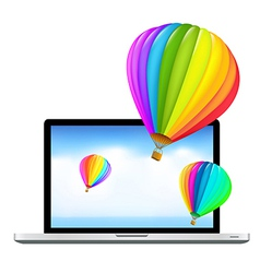Laptop With Air Balloons vector image vector image
