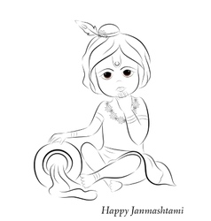 Little cartoon Lord Krishna with pot of butter vector image