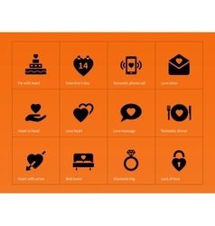 Love icons on orange background vector