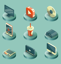 online cinema color isometric concept icons vector image vector image
