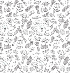 Outline hand drawn vegetable pattern vector