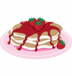 pancakes strawberry vector image vector image