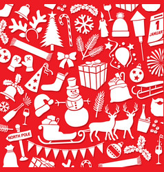 pattern with christmas and new year icons vector image vector image