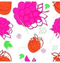 pattern with the image of raspberries vector image vector image