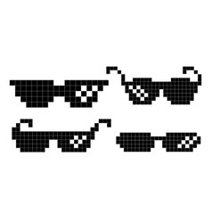 Pixel glasses black game glasses in 8-bit vector
