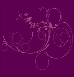 Puple floral with bird blackground vector image