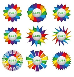 Set of rainbow icons with text lgbt vector image vector image