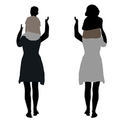 Silhouette of two women with children on shoulders vector