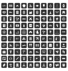 100 activity icons set black vector