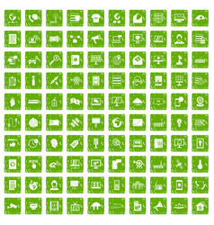 100 telecommunication icons set grunge green vector