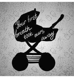Quotes on baby stroller carriage vector
