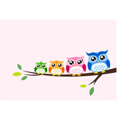Owl family at tree spring vector