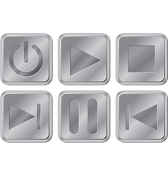 Aluminium media buttons vector