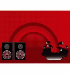 retro speakers and rainbow vector image