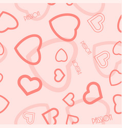 Heart symbol passion text seamless pattern vector