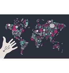 Social Media Global Map vector image