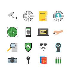 Cartoon security and spy color icons set vector