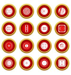 Clothes button icon red circle set vector