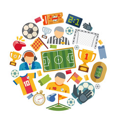 soccer or european football flat icons set vector image