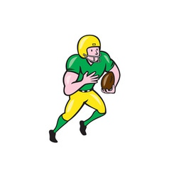 American football receiver running ball cartoon vector