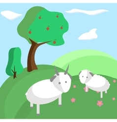Background tree hill goat nature landscape vector