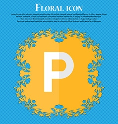 Parking floral flat design on a blue abstract vector