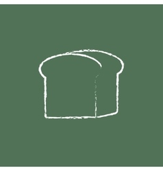 Half of bread icon drawn in chalk vector
