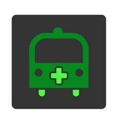 Medical Bus Flat Button vector image