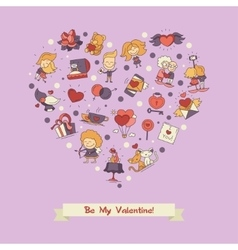 Flat design valentines day love and romance icons vector
