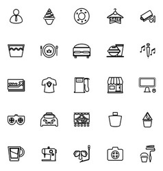 Franchisee business line icons on white background vector