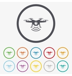 Drone icon quadrocopter with action camera vector