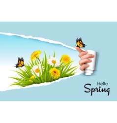 Ripped by hand paper background revealing spring vector image