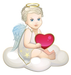 Angel with heart on the cloud vector