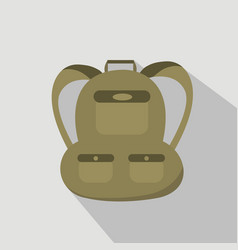 Backpack isolated on grey background flat style vector