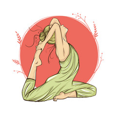beautiful woman in yoga pose on a round background vector image vector image