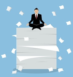 Businessman meditating on a lot of documents vector