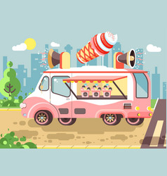 cartoon car with refrigeration vector image vector image