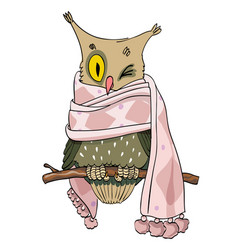 Cartoon image of owl wearing scarf vector