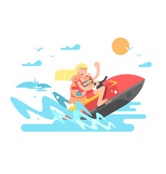 couple on hydrocycle vector image